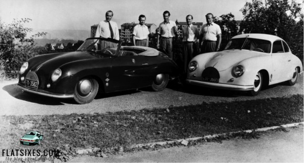 Ferry Porsche with two early Porsche 356s