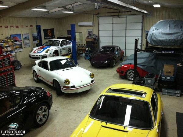 Taken at theKraftwerks shop.  Three of the Porsches, (including the RS replica) are part of Ron's collection