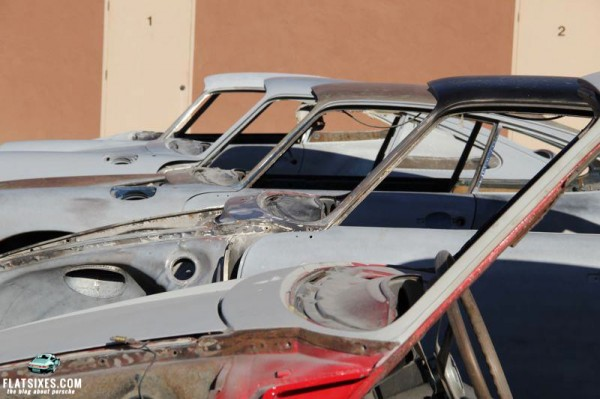Porsches waiting to be restored at California Porsche Restoration