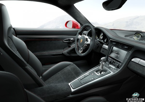 Interior and paddles shifters on 2014 Porsche 911 GT3