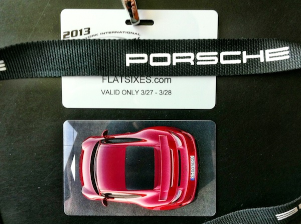 Porsche key card from the 2013 New York International Auto Show