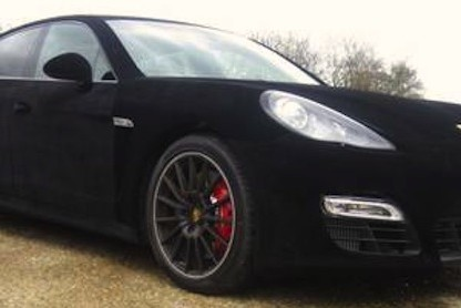 a Porsche panamera wrapped in velvet / suede