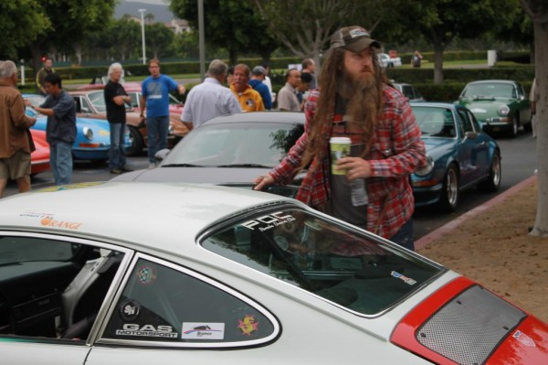 Magnus Walker with his Porsche at Cars and Coffee