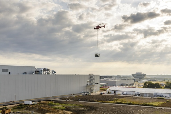porsche completes paint shop construction with helicopter