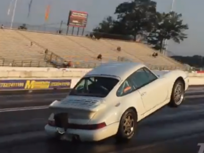 Porsche doing a wheelie