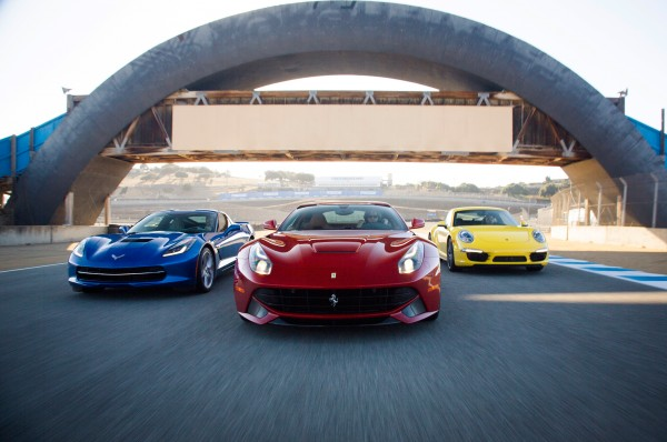 Chevrolet-Corvette-Porsche-911-Carrera-4S-Ferrari-F12-Berlinetta-front-end-in-motion-02