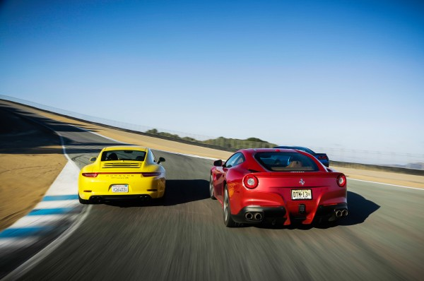 Chevrolet-Corvette-Porsche-911-Carrera-4S-Ferrari-F12-Berlinetta-rear-end-in-motion-03