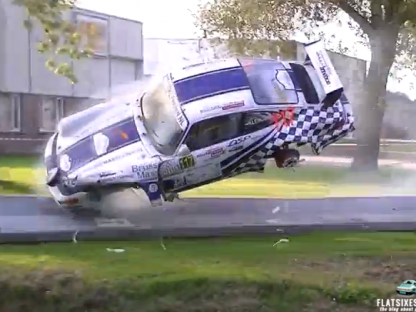 Porsche 964 Rally Car Flips and lands in water video