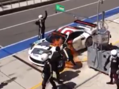 Watch This Porsche GT3 RSR Catch Fire During A Pit Stop