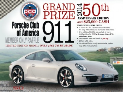 Porsche Raffle: Win A 50th Anniversary Edition 911 + $25,000 Cash From The PCA