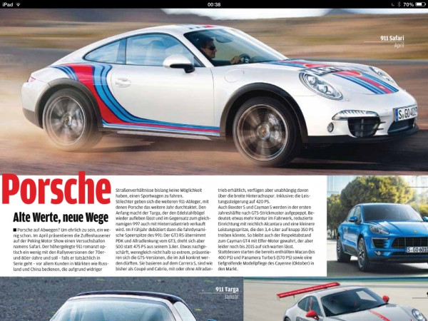 Picture posted on rennteam.com showing a scan of a magazine article said to feature a possible 911 'Safari' concept