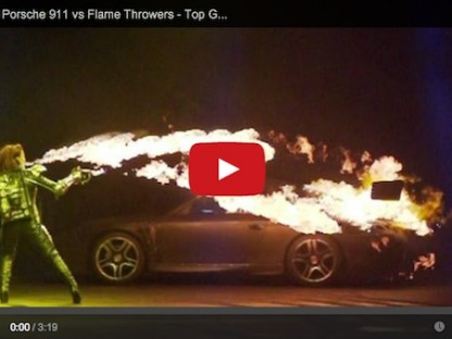 top gear live performs inferno sequence by setting a Porsche on fire