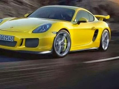Rendering of a Yellow Porsche Cayman GT4