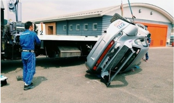 Rauh-Welt Porsche after falling from crane at track in Japan