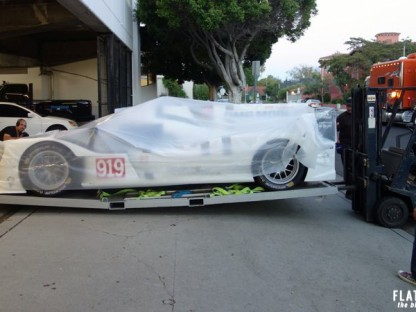 This Is How You Load The Porsche 919 Hybrid LMP1 Car Into The 2nd Floor Of The Petersen Museum