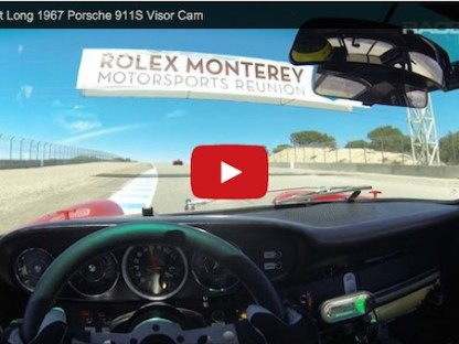 Patrick long's viewpoint from behind the wheel of a 1967 Porsche 911 S at Laguna Seca during the rolex monterey motorsports reunion