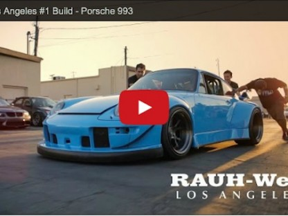 An RWB in Los Angeles being rolled into the shop