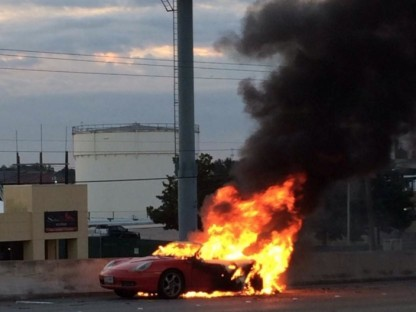 Houston Highway Halted By Burning Boxster