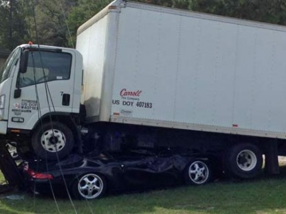 Porsche 993 crushed by truck
