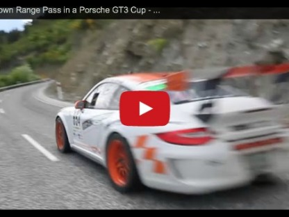 video showing Gavin Riches pilot his Porsche 997 GT3 in the Targa New Zealand to the top of the Crown Range Pass