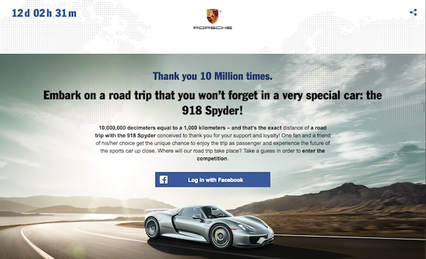 porsche facebook 10 milion fan contest