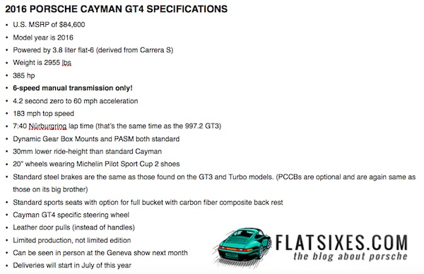 Cayman GT4 Specifications