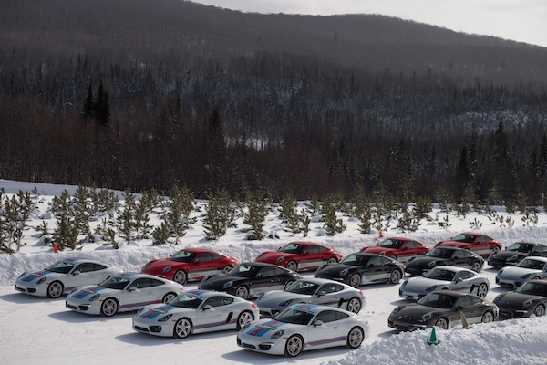 The grid of Porsches at Camp4 Canada