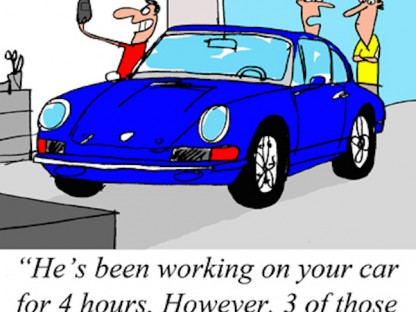 Porsche Cartoon. Man standing next to Porsche taking a selfie. Two other men talking saying, he's been working on your car for 4 hours. However, 3 of those hours were spent taking selfies