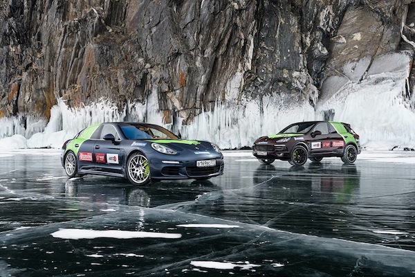 hybrid porsches in siberia on russias lake baikal