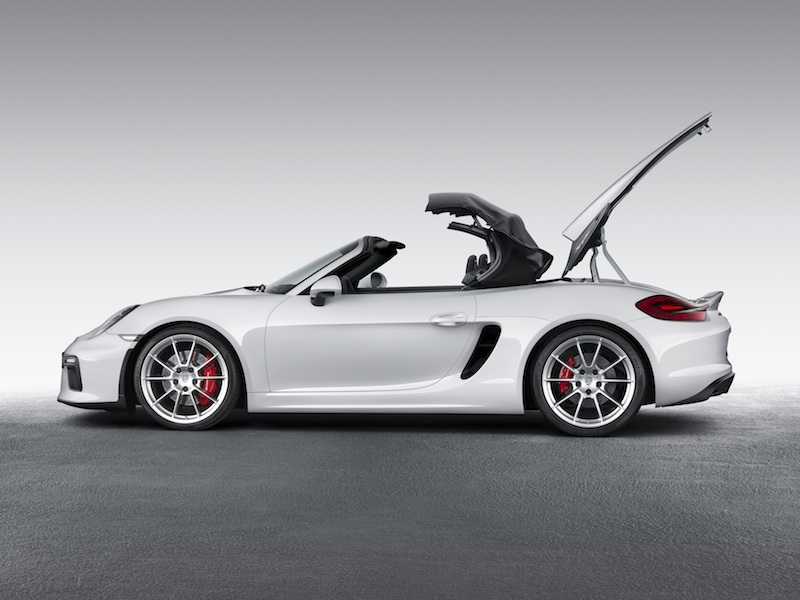 Stowing the top on the Porsche Boxster Spyder