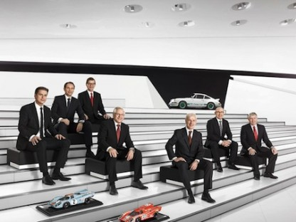 Porsche's Executive Board on the steps at the museum