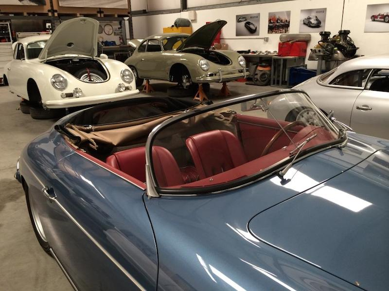 Another immaculate and well organized shop:  Customer Outlaws nearing completion in the background, and, the silver car to the right is the first Emory Special completed by Rod in 1998