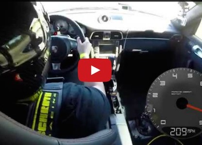 anthony taylor driving his porsche 997 turbo during world record half mile run