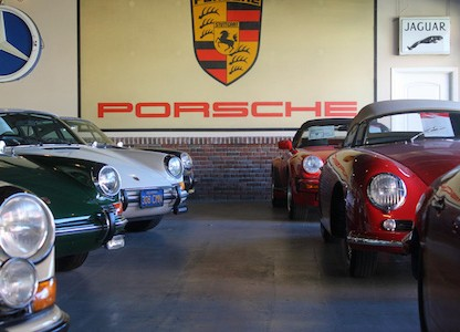 the sales floor full of Porsches at European collectibles