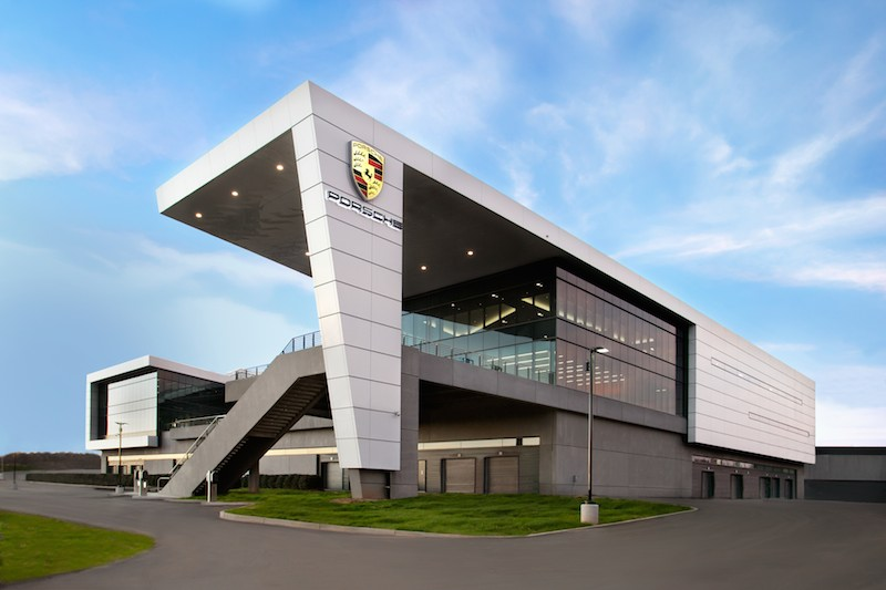 Outside of the Porsche Experience Center in Atlanta