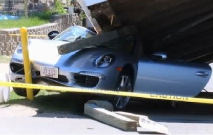 Collision Causes Carwash Collapse.  Carrera Cabriolet Crushed!