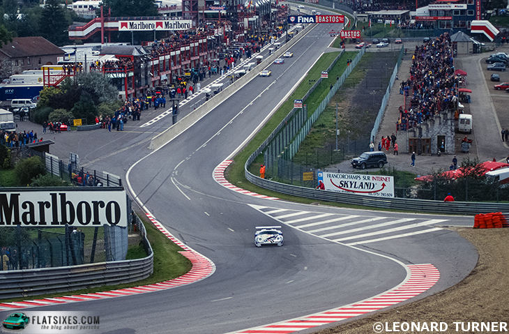Porsche pulling away from the pack at Spa in 1996