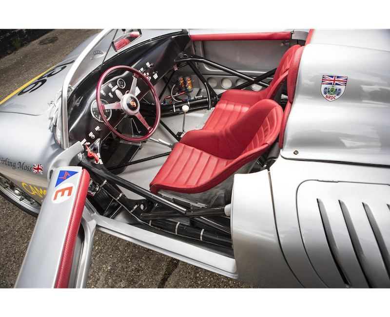 Interior of Sir Stirling Moss' Porsche RS61 for sale at Goodwood