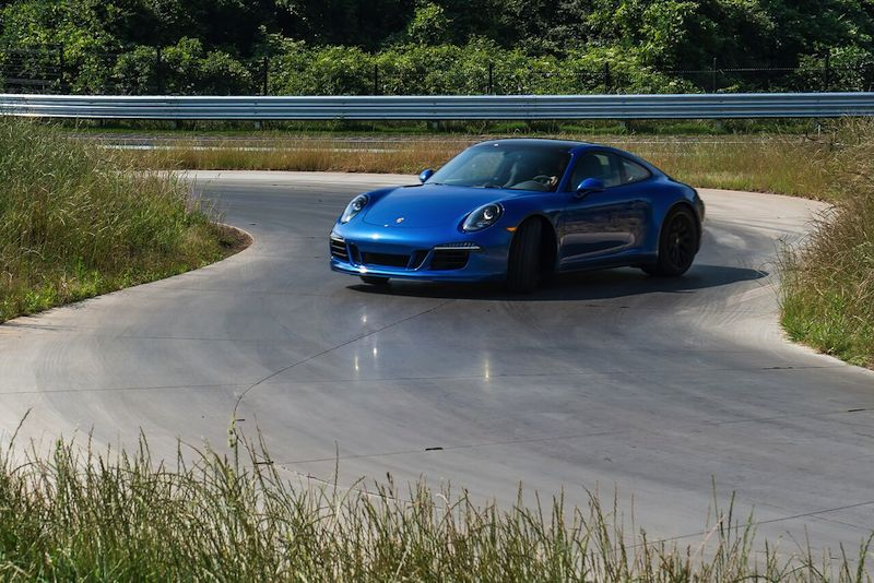 Porsche 911 GTS on low traction course
