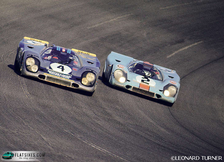 The image on this particularly wonderful day shows two 917s going at each other in deadly earnest; the Gulf car shared by Pedro Rodriguez and Jackie Oliver eventually vanquished the #4 Martini 917 of Vic Elford and Gijs van Lennep, which did not finish.  Two Ferrari 512s were second and third.