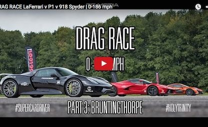 Watch The LaFerrari vs. McLaren P1 vs. Porsche 918 Drag Race From 0 to 186 MPH