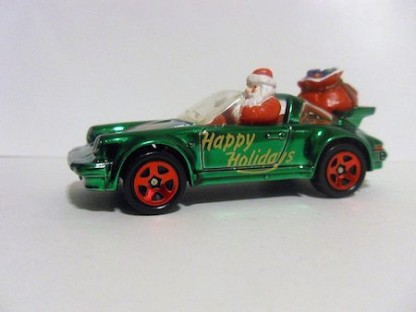 Santa in a Porsche hotwheels for Christmas