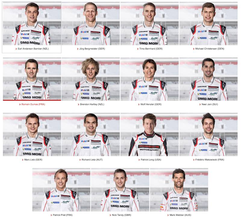 porsche factory drivers for 2016