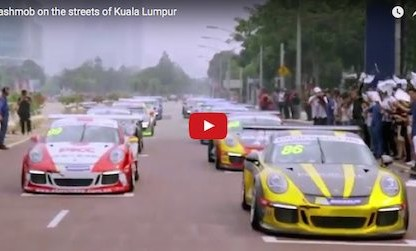 video of the porsche flash mob in Kuala Lampur