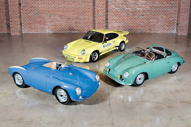 Selections from The Jerry Seinfeld Collection that will be on display at Gooding & Company's Scottsdale Auctions. From L-R: 1955 Porsche 550 Spyder, 1958 Porsche 356 A 155 GS/GT Carrera Speedster and 1974 Porsche 911 Carrera Speedster.  Image copyright and courtesy of Gooding & Company. Photo by Brian Henniker.