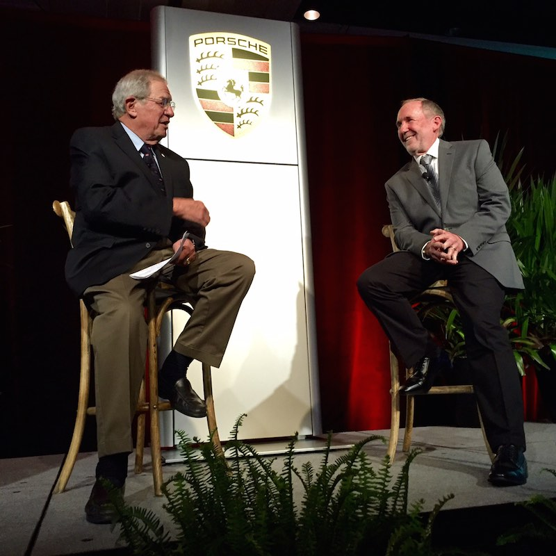 Bill Warner interviewing Jeff Zwart during the 2016 Guardians of Porsche Winemakers Dinner