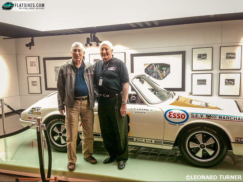 Elford and Ingram with a car important to both of them, the 911R