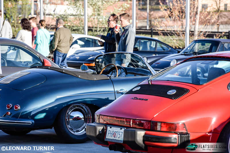 Porsche enthusiasts enjoyed coffee while perusing the display
