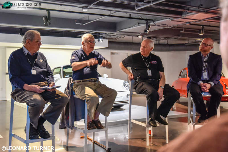 The panel discussion included (L to R) Bill Warner, Vic Elford, Bob Ingram, and Cam Ingram