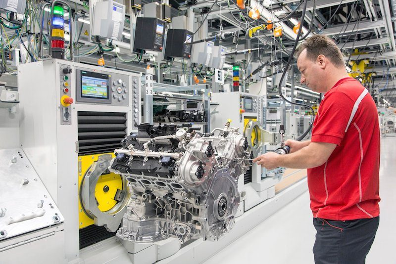 porche v-8 engine being assembled at new factory